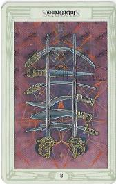 Thoth Tarot, Eight of Swords, Interference