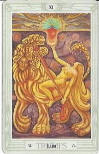 Strength/Lust, the Thoth Tarot